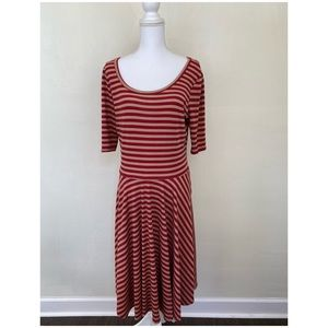 LuLaRoe Nicole Dress Stripe Red Tan Flare Stretch